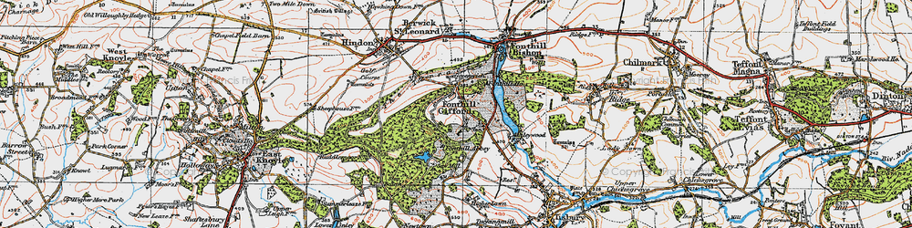 Old map of Fonthill Gifford in 1919