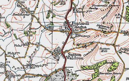 Old map of Fontmell Magna in 1919