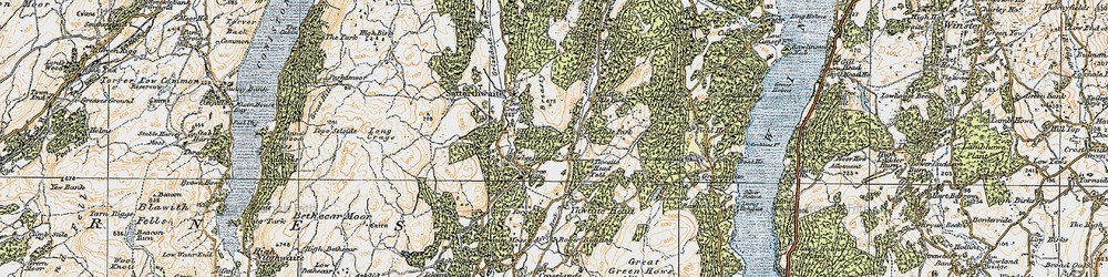 Old map of Thwaite Head Fell in 1925