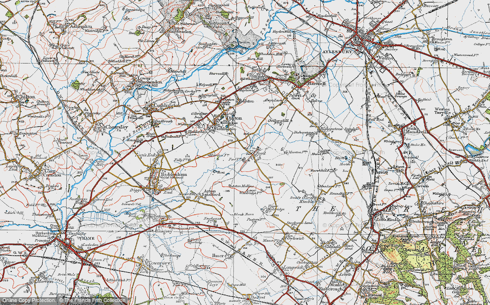 Old Map of Historic Map covering Aston Mullins in 1919