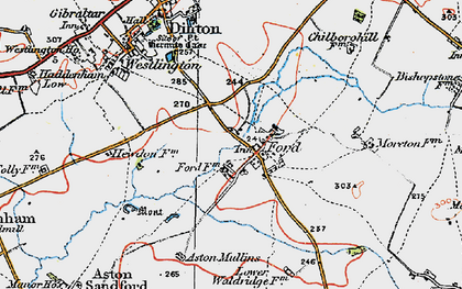 Old map of Aston Mullins in 1919