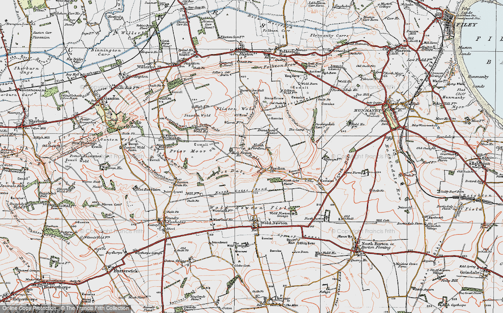 Old Map of Historic Map covering Lang Dale in 1925