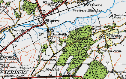 Old map of Fordwich in 1920