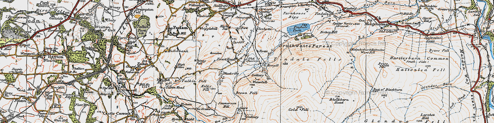 Old map of Tindale Fells in 1925