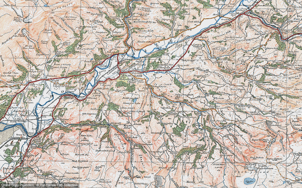 Old Map of Historic Map covering Allt-cae-melyn in 1921