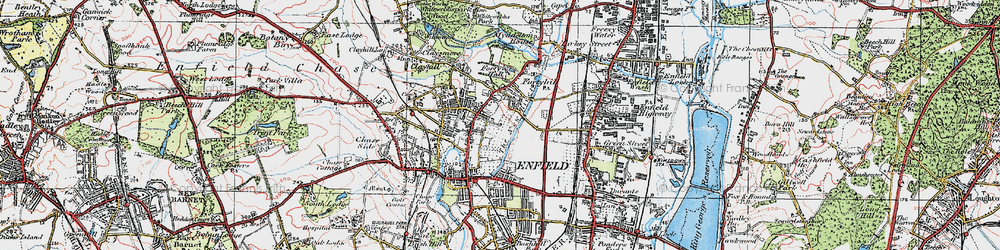 Old map of Forty Hill in 1920