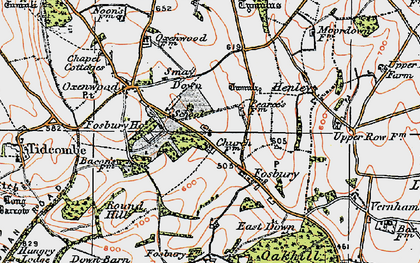 Old map of Fosbury in 1919
