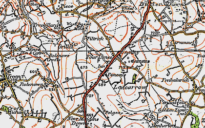 Old map of Four Lanes in 1919