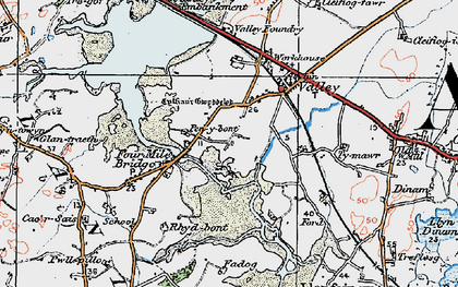Old map of Four Mile Bridge in 1922