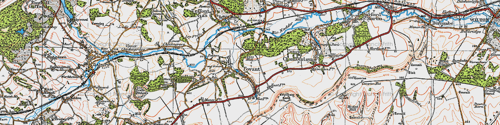 Old map of Fovant in 1919