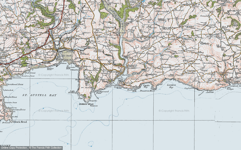 Old Map of Fowey, 1919 in 1919