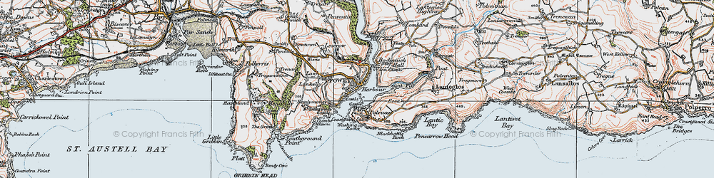 Old map of Fowey in 1919