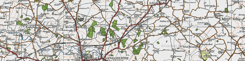 Old map of Ardleigh Reservoir in 1921