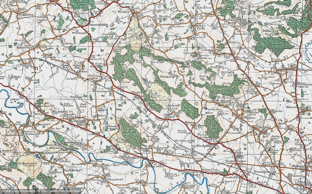 Old Map of Historic Map covering Bache Wood in 1920