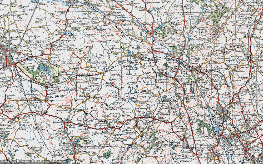 Old Map of Historic Map covering Bank Top in 1921