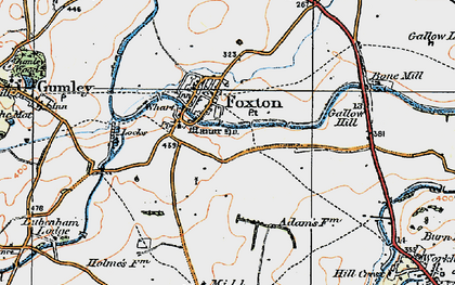 Old map of Foxton in 1920