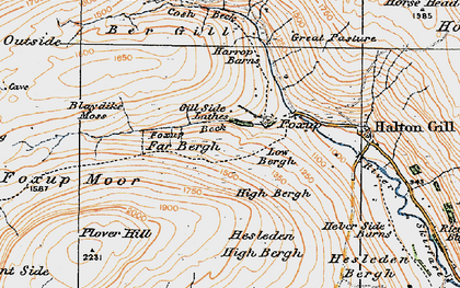 Old map of Yorkshire Dales National Park in 1925