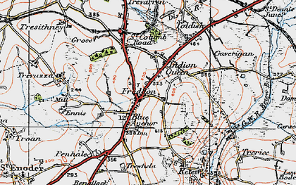 Old map of Fraddon in 1919