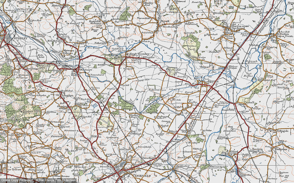 Old Map of Historic Map covering Alrewas Hayes in 1921