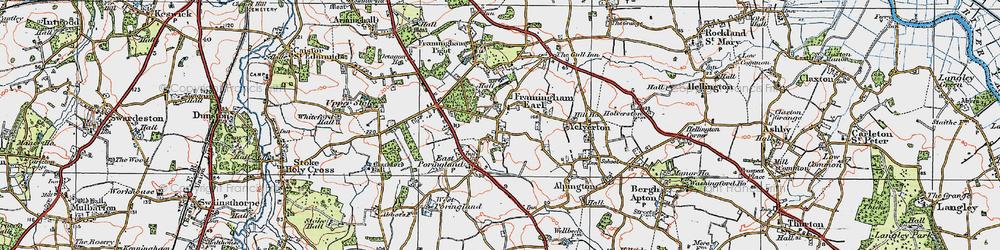 Old map of Framingham Earl in 1922