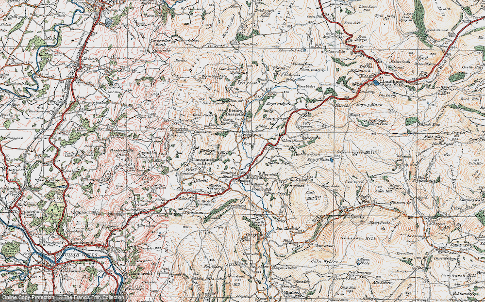 Old Map of Historic Map covering Allt-y-Coryn in 1920