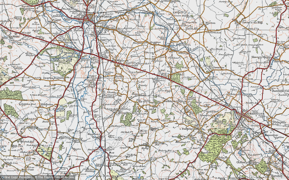 Old Map of Freasley, 1921 in 1921