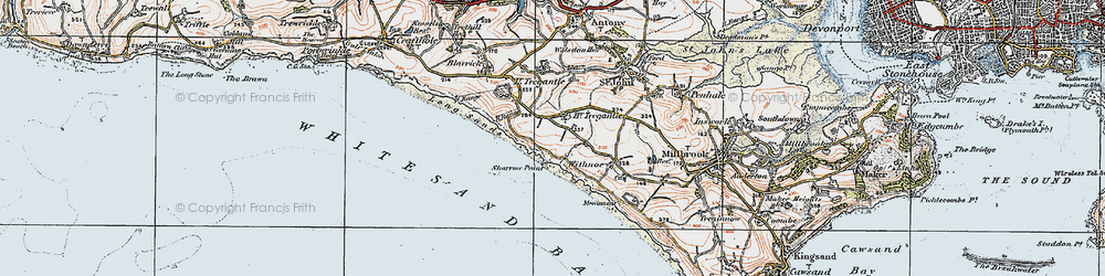 Old map of Lower Tregantle in 1919