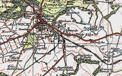 Old map of Allerburn Ho in 1925
