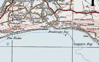 Old map of Freshwater Bay in 1919