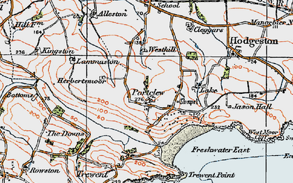 Old map of Freshwater East in 1922