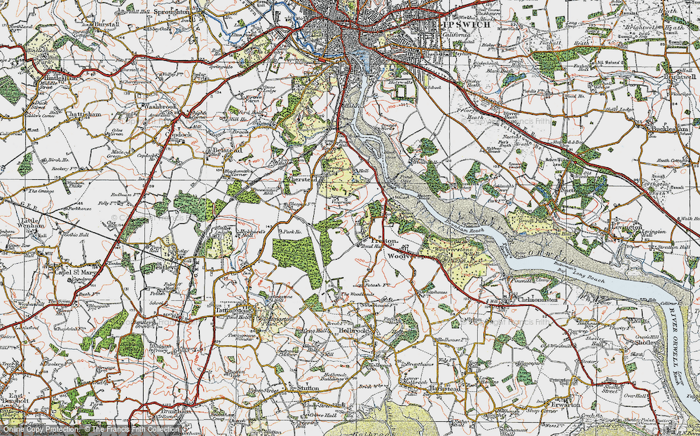 Old Map of Freston, 1921 in 1921