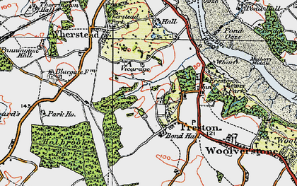 Old map of Freston in 1921