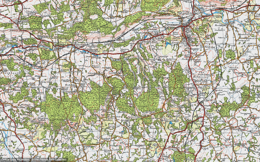 Old Map of Historic Map covering Abinger Bottom in 1920