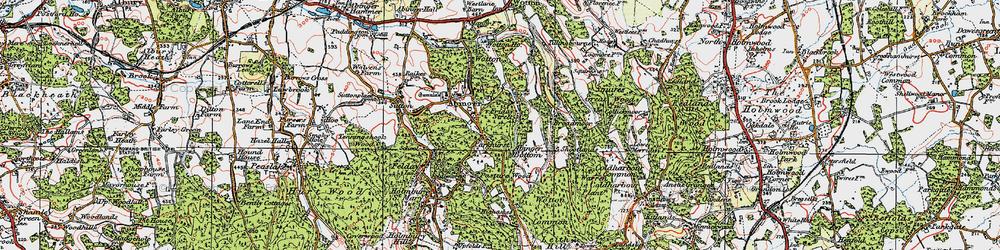 Old map of Abinger Bottom in 1920