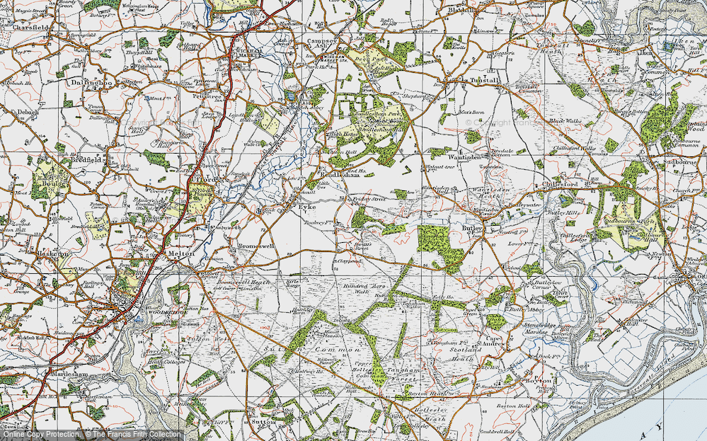 Old Map of Historic Map covering Woodbridge Airfield in 1921