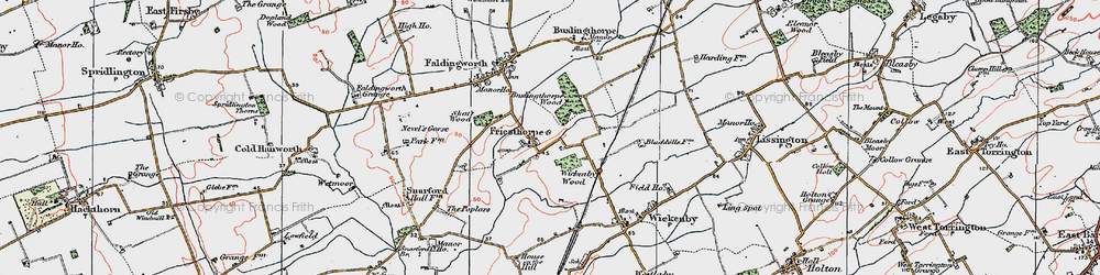 Old map of Wickenby Wood in 1923