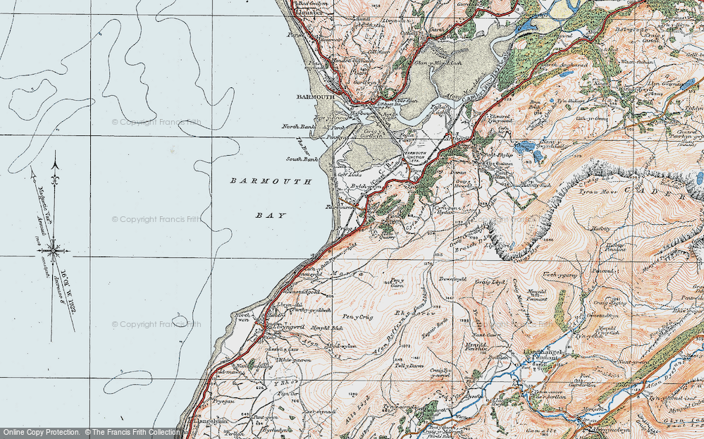 Old Map of Historic Map covering Afon Dyffryn in 1922