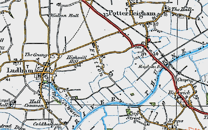Old map of Fritton in 1922
