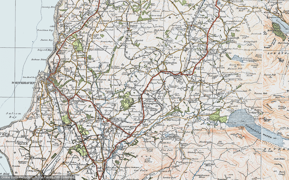 Old Map of Historic Map covering Acrewalls in 1925