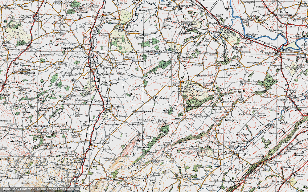 Old Map of Frodesley, 1921 in 1921
