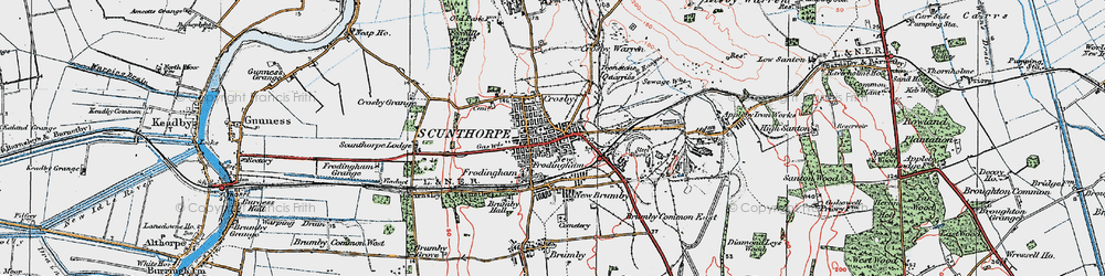 Old map of Frodingham in 1923