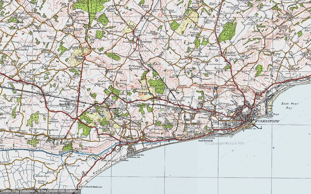 Old Map of Historic Map covering Ashley in 1920