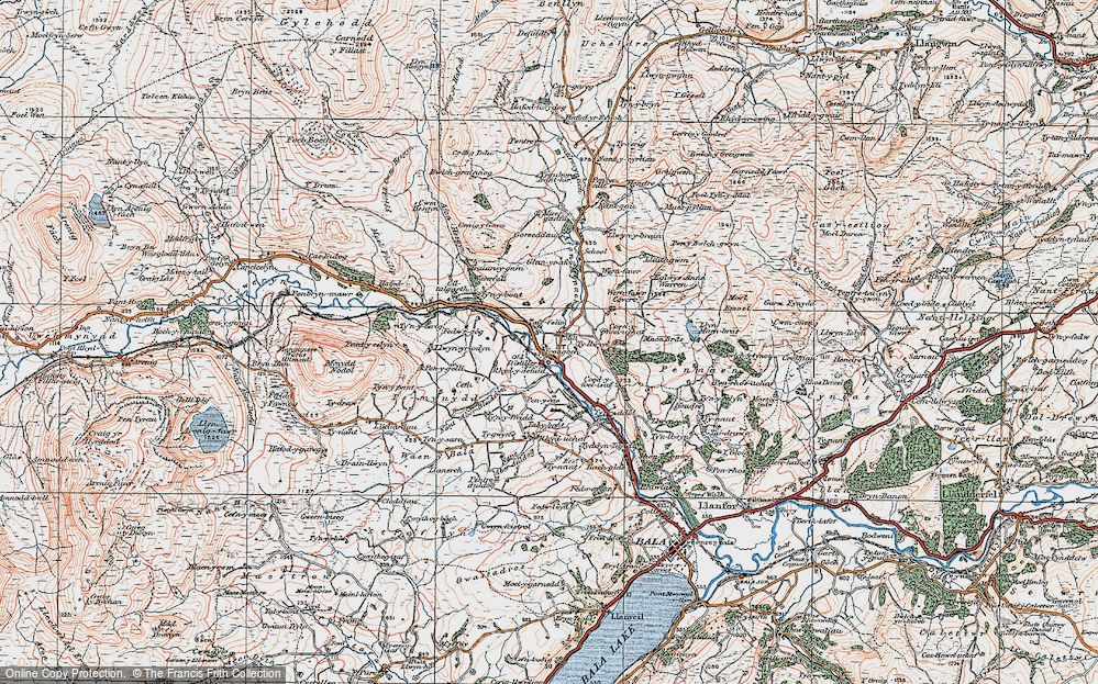Old Map of Historic Map covering Afon Mynach in 1922