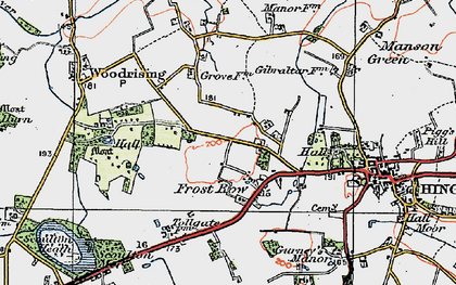 Old map of Woodrising Hall in 1921