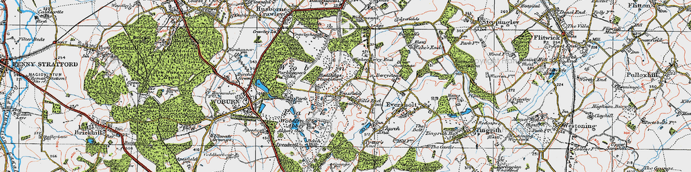 Old map of Woburn Abbey in 1919