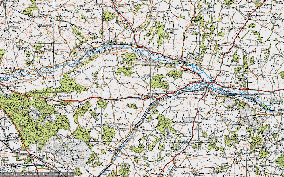 Old Map of Historic Map covering Lawn Coppice in 1919