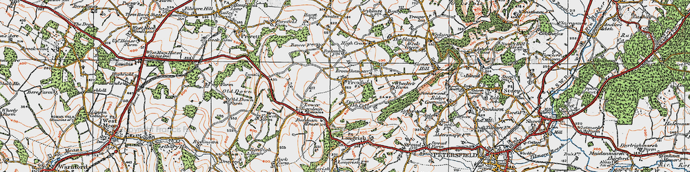 Old map of Froxfield Green in 1919