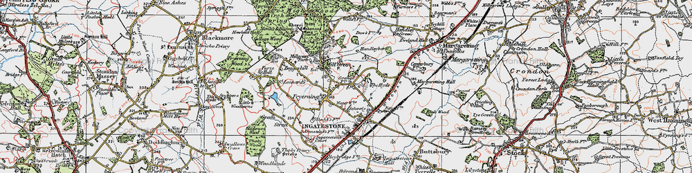 Old map of Fryerning in 1920