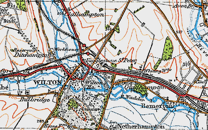 Old map of Fugglestone St Peter in 1919