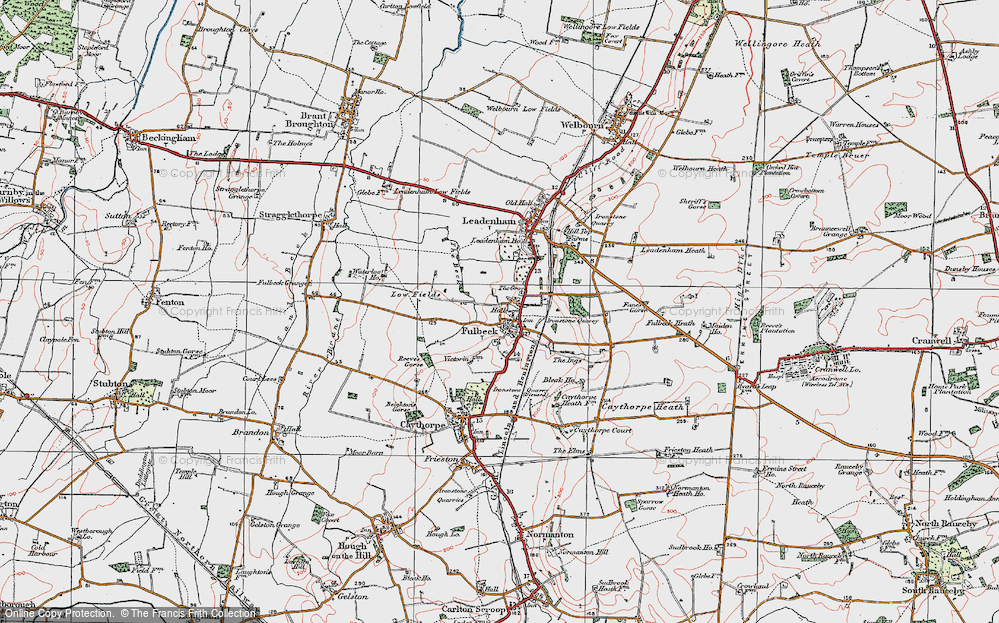 Old Map of Historic Map covering Leadenham Ho in 1922
